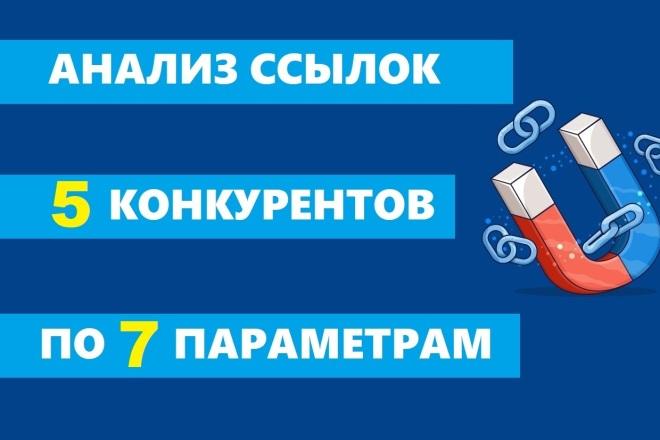 Анализ обратных ссылок 5 конкурентов. По 6 параметрам + Биржа ссылок 1 - kwork.ru