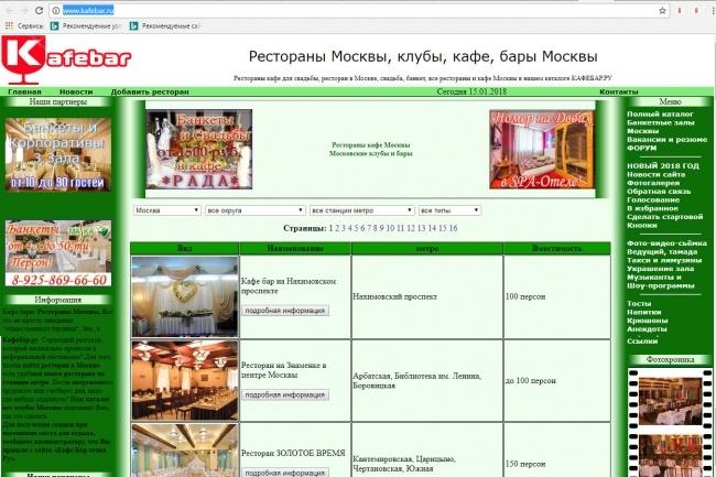 Регистрация и размещение в каталоге ресторанов кафе Kafebar.Ru 1 - kwork.ru