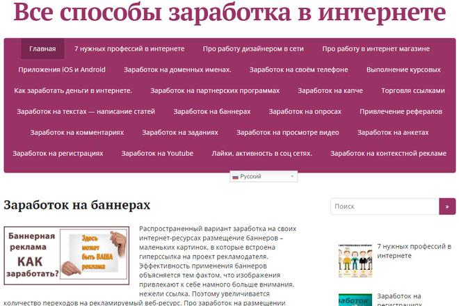 Продам готовый сайт с доменом Интернет заработок Wordpress Под ключ. 3 1 - kwork.ru