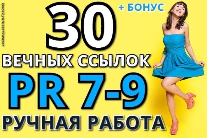 30 вечных ссылок с PR 7-9, вывод в топ Google, ручная работа + бонус 1 - kwork.ru