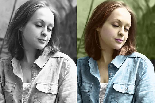 Ретушь фото Цветное фото из черно-белого 5 - kwork.ru
