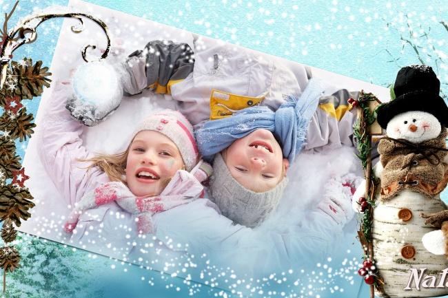 Слайд-шоу для зимних детских фотографий Скоро Новый год придёт 2 - kwork.ru