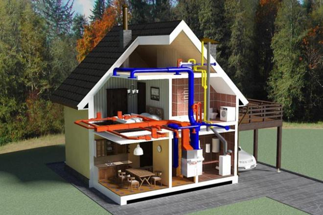 Проектирование отопления и вентиляции коттеджа 9 - kwork.ru