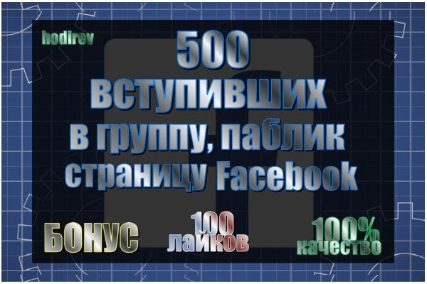 500 вступивших в группу, паблик в Facebook 1 - kwork.ru