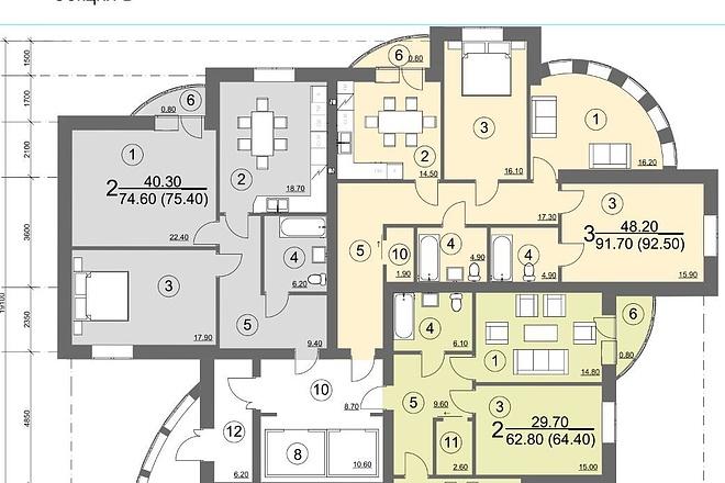 Планировка и перепланировка квартиры 6 - kwork.ru