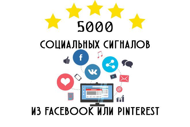 5000 социальных сигналов из Facebook или Pinterest на выбор. Ссылки фото