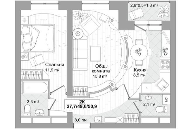 Планировка двухкомнатной квартиры за 24 часа 11 - kwork.ru