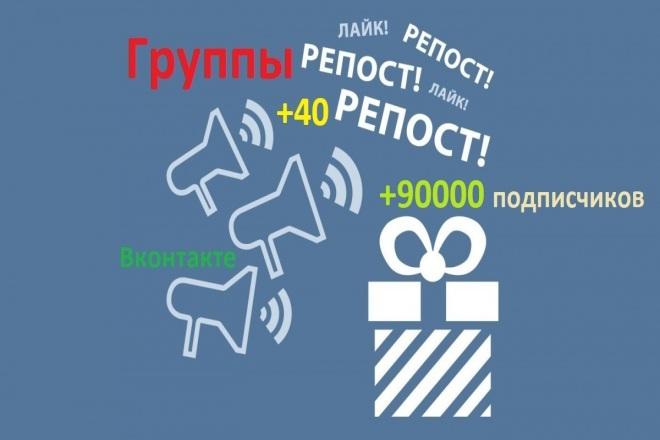 Рекламный пост или репост в 40 группах ВКонтакте, 90000 подписчиков 1 - kwork.ru