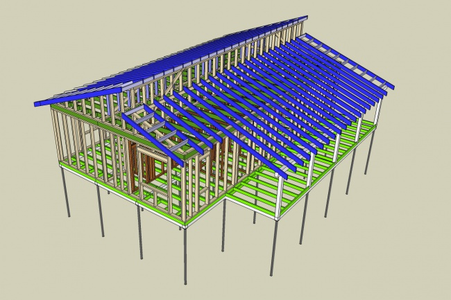 Сделаю 3D проект каркасного дома 1 - kwork.ru