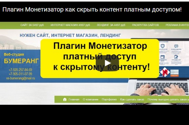 Продаю плагин Монетизатор- Платный доступ к скрытому контенту 1 - kwork.ru