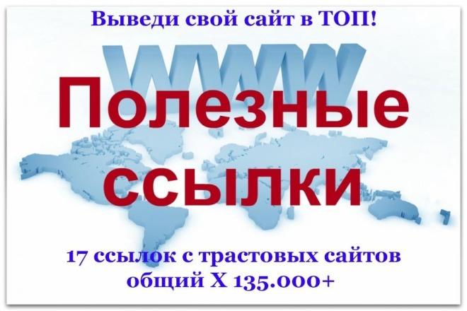 Получите 17 ссылок с очень рейтинговых, трастовых сайтов на Ваш сайт 1 - kwork.ru