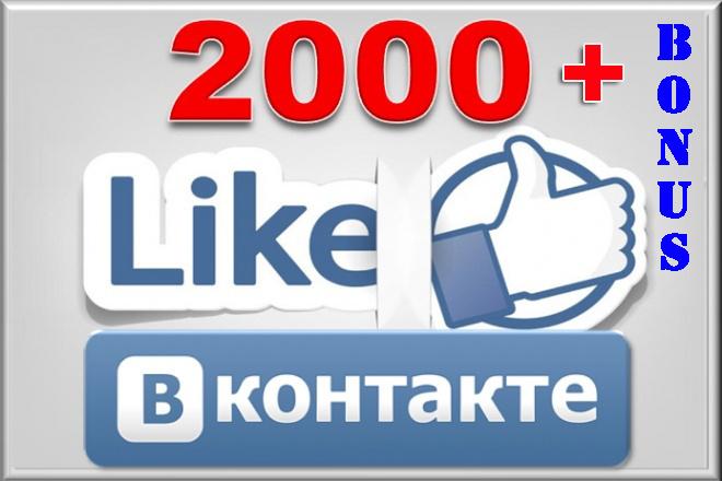 2000 лайков в ВКонтакте + бонус 1 - kwork.ru