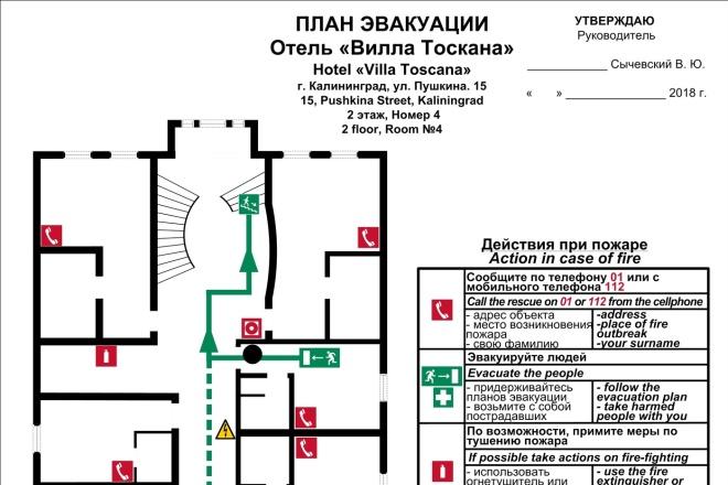 Разработка плана эвакуации в соответствии с ГОСТ 2 - kwork.ru
