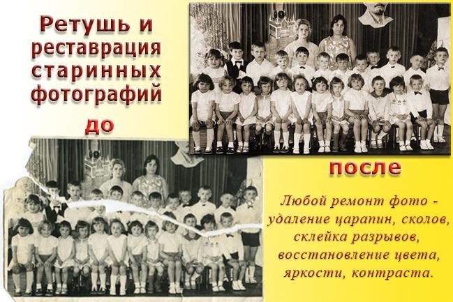 Ретушь, реставрация и восстановление старинных фотографий 3 - kwork.ru