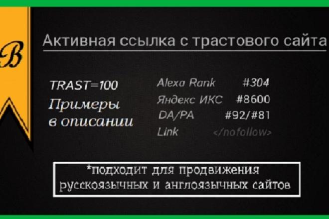 Прямая, Активная ссылка с жирного трастового сайта - ТРАСТ 100%