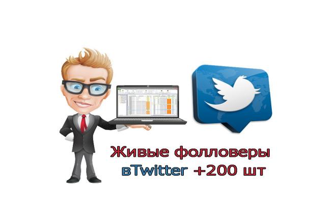Живые фолловеры в Twitter +200 шт 1 - kwork.ru