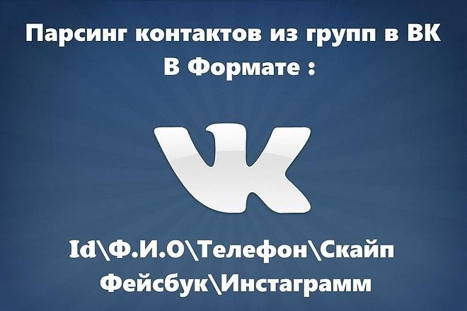 Парсинг групп Вконтакте по любым нужным критериям. Поиск Vk 1 - kwork.ru