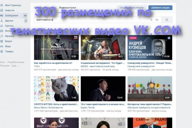 300 размещений комментариев по тематических видео Vk.com 1 - kwork.ru