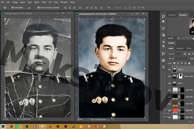 Реставрация фотографии, из чб в цветной, коррекция, восстановление 6 - kwork.ru