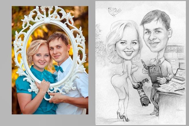 Дружеский шарж по фото, карикатура 39 - kwork.ru