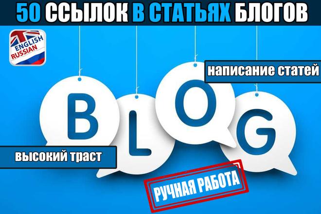 50 ссылок из блогов в тематических статьях 1 - kwork.ru