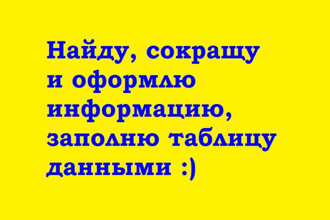 Оформлю информацию, заполню таблицу данными 1 - kwork.ru