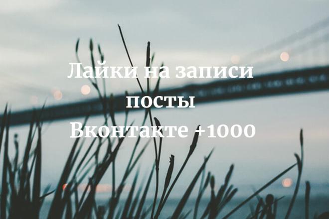 Лайки на записи, фото, видео,посты Вконтакте 1000 1 - kwork.ru