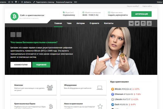 Продам Финансовый сайт с доменом, про криптовалюты, Wordpress под ключ 1 - kwork.ru