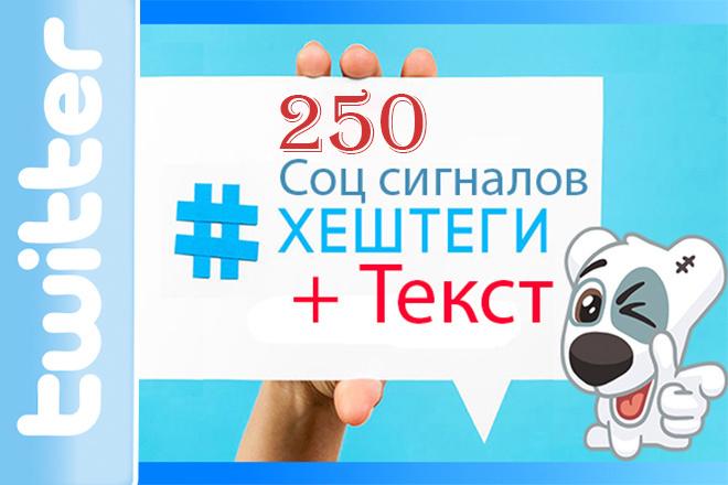 250 соц сигналов из Twitter с текстом и Хештегами 1 - kwork.ru