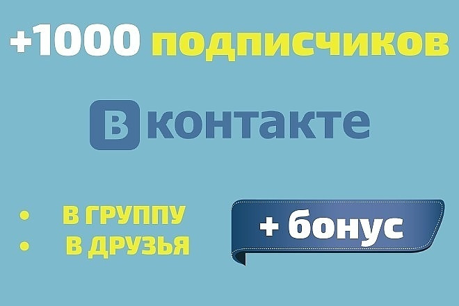 1000 подписчиков Вконтакте на Вашу страницу или в группу + Бонус 1 - kwork.ru