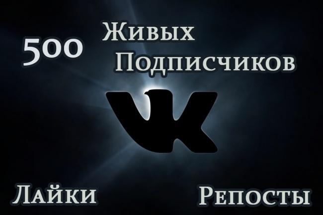 +500 живых подписчиков в Вашу группу или паблик ВК 1 - kwork.ru