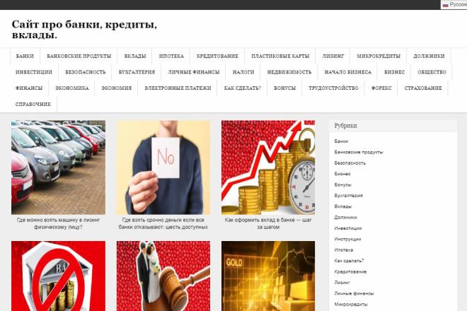 Продам готовый сайт с доменом Банки кредиты ипотека Wordpress Под ключ 1 - kwork.ru