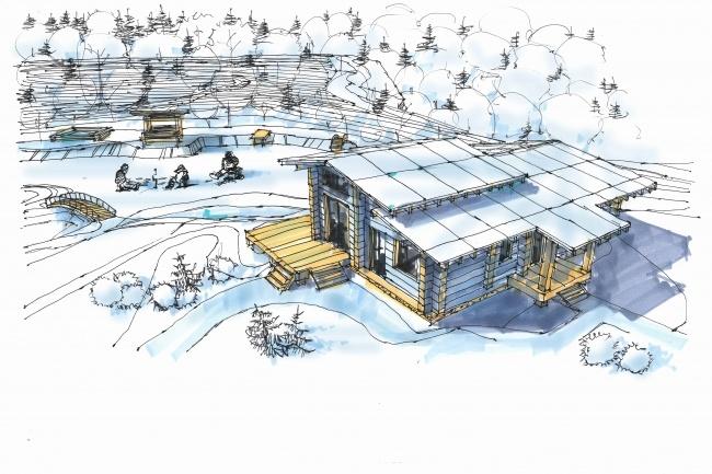 Выполню концепцию ландшафта загородного участка в стиле архскетчинга 3 - kwork.ru