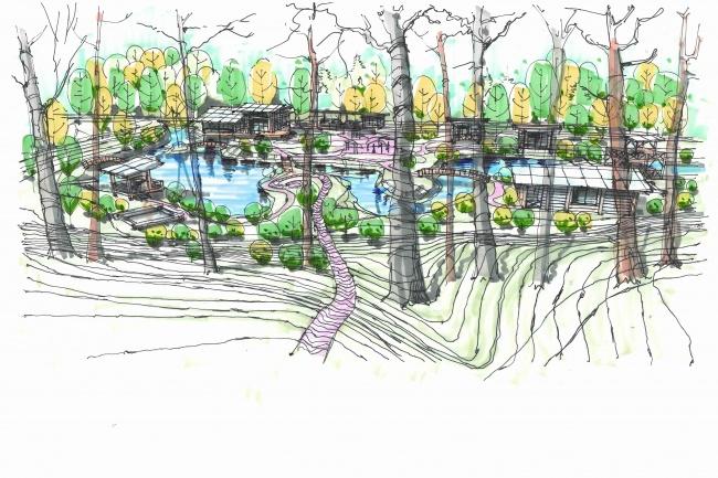 Выполню концепцию ландшафта загородного участка в стиле архскетчинга 5 - kwork.ru