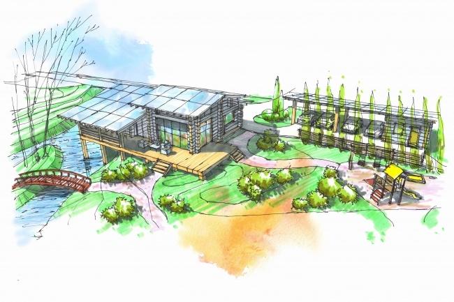 Выполню концепцию ландшафта загородного участка в стиле архскетчинга 7 - kwork.ru