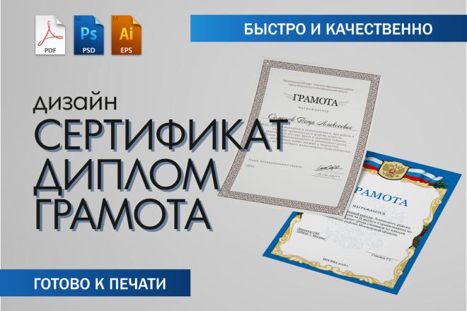 Дизайн Диплома, Сертификата, Благодарности, Грамоты 7 - kwork.ru