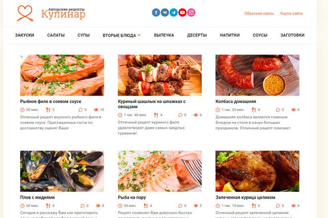 Шаблон кулинарного сайта Wordpress 6 - kwork.ru