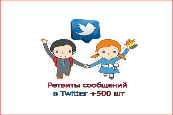 Ретвиты сообщений Twitter +500 шт 1 - kwork.ru