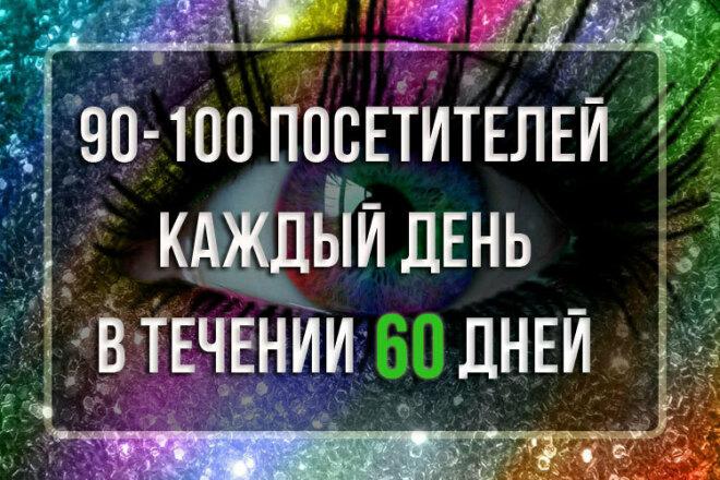 90-100 посетителей каждый день, в течение 60 дней 1 - kwork.ru