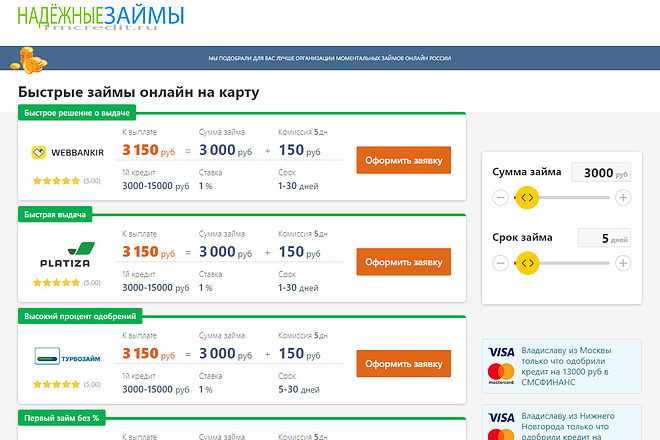 Готовый сайт с доменом и хостингом для заработка на кредитах и займах 1 - kwork.ru