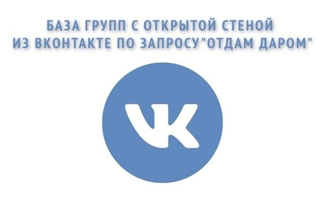 База групп с открытой стеной из Вконтакте по запросу отдам даром 1 - kwork.ru