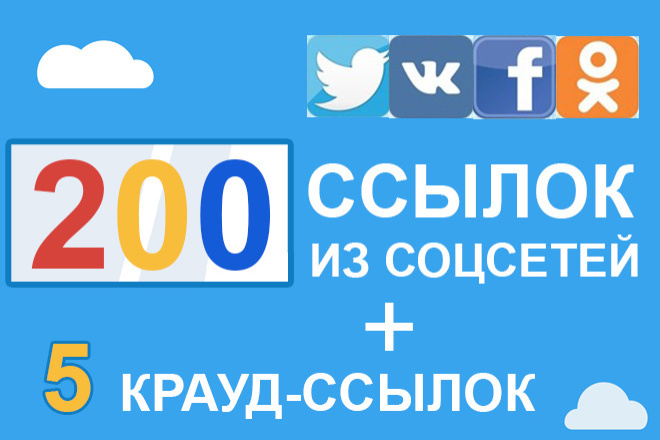 200 ссылок из социальных сетей + 5 крауд-ссылок на ваш сайт 1 - kwork.ru