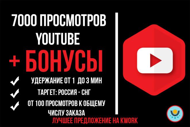 7000 просмотров Ваших видео на YouTube с гарантией от списания 1 - kwork.ru