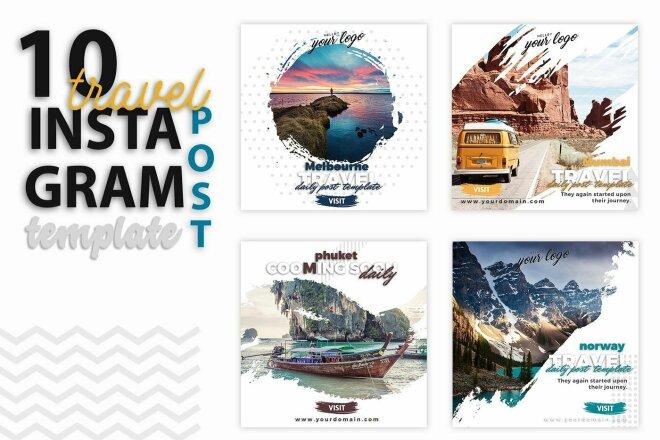 10 шаблонов для Instagram - тематика Путешествия