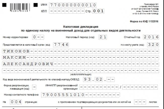 Заполнение декларации ЕНВД для ИП, ООО 1 - kwork.ru