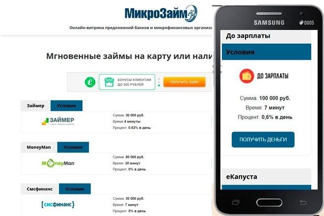 Онлайн - витрины под кредитные офферы СРА 1 - kwork.ru