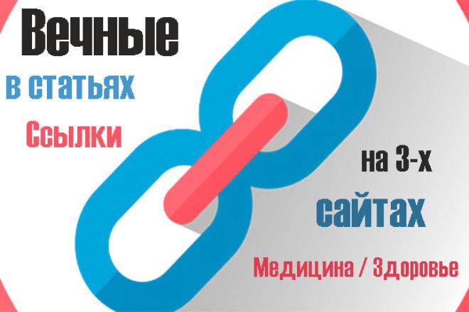 Разместим вечные ссылки в статьях на 3-х сайтах медицина, здоровье 1 - kwork.ru
