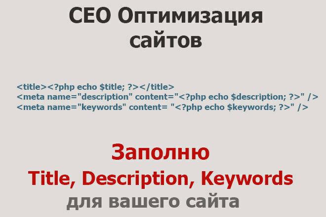 Пропишу Title, Description, Keywords 1 - kwork.ru