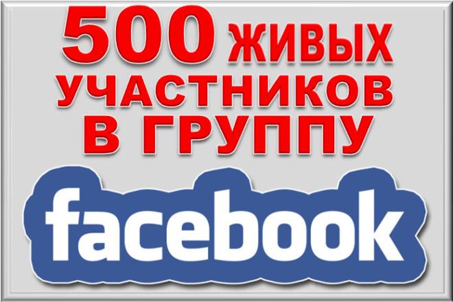 500+ живых участников в группу Facebook 1 - kwork.ru