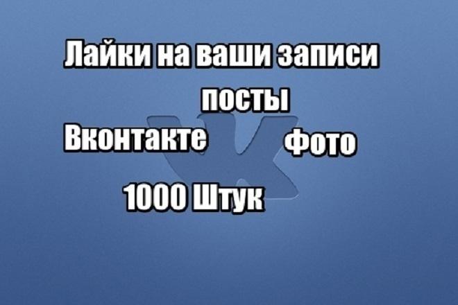 Лайки на фото или посты вконтакте. 1000 лайков 1 - kwork.ru
